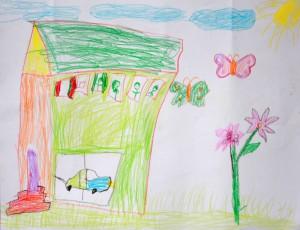 Lapset piirsivät näkemyksiään kodista.